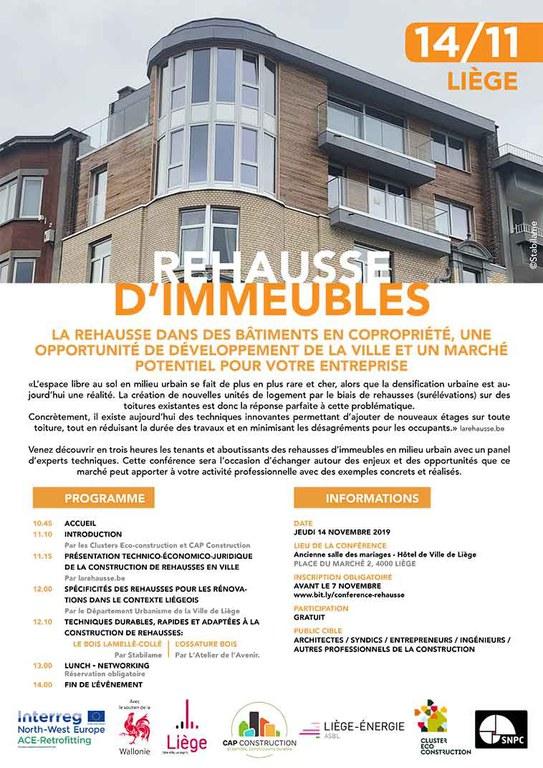 Invitation à la conférence Rehausse d'immeuble du 14 novembre 2019