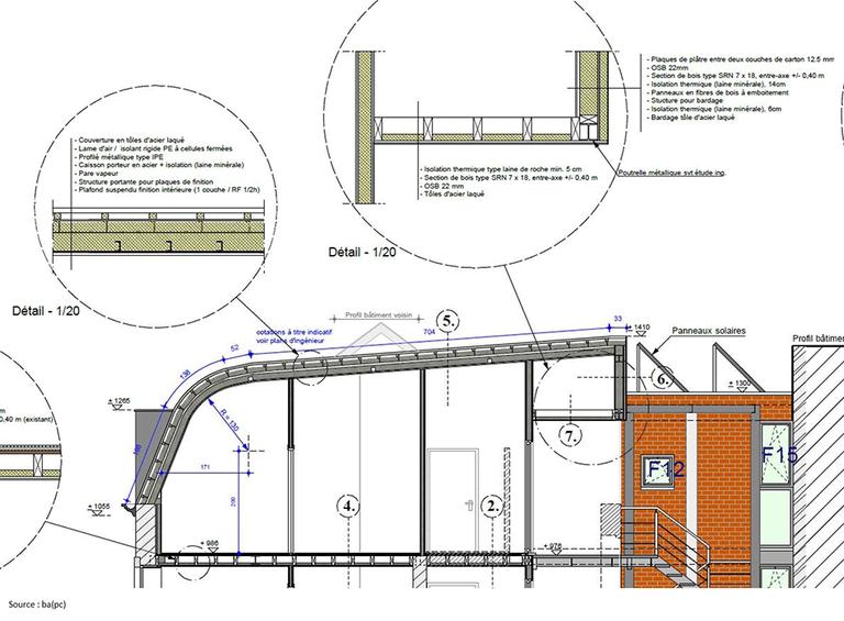 Rénovation globale - toiture - Schéma coupe détaillée